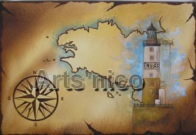 Phare d'Ar-men, peinture acrylique 35x25