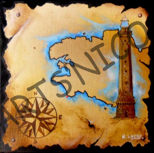 Phare d'eckmul, peinture acrylique 30x30