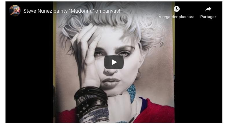 Portrait de Madonna réalisé à l'aérographe