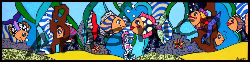 Aquarium, peinture acrylique 120x30