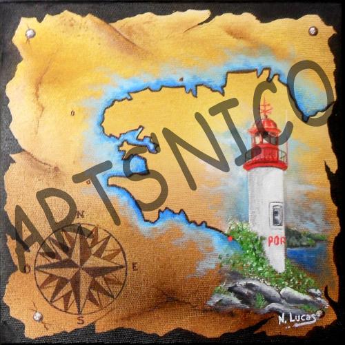 Phare de port manech, peinture acrylique 30x30